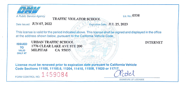 Urban Traffic School DMV License E0538