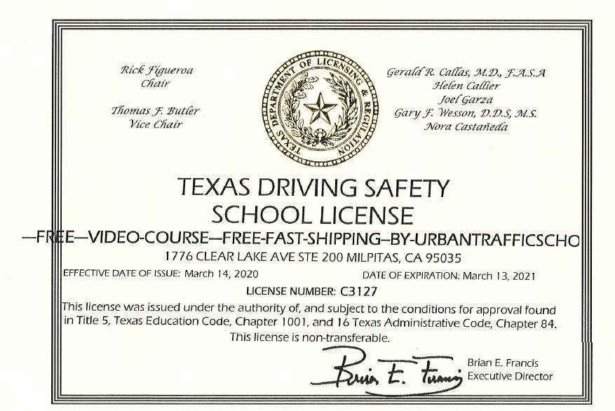 Urban Traffic School Texas DMV License