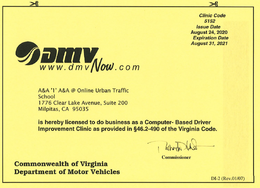 Urban Traffic School DMV Traffic School License