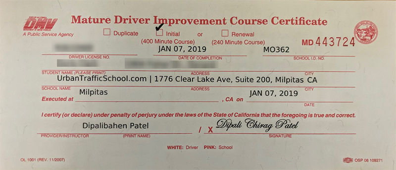 Sample Mature Driver Certificate